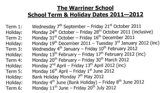 Warriner Calendar dates