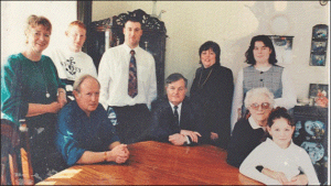 l to rt - Stewart and his wife and their two sons; centre Russell and Pauline, and right Russell's mum with their two daughters.  Family photograph taken in 1995
