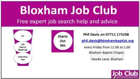 Bloxham Job Club – 9th Oct 2015
