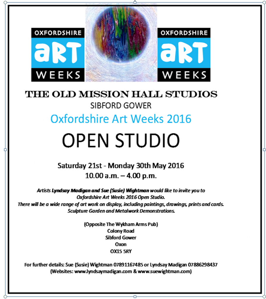 Art Week  Sibford – 21-30th May 2016