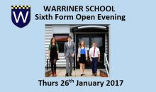 Warriner Sixth Form Open Evening – 26th January 2017