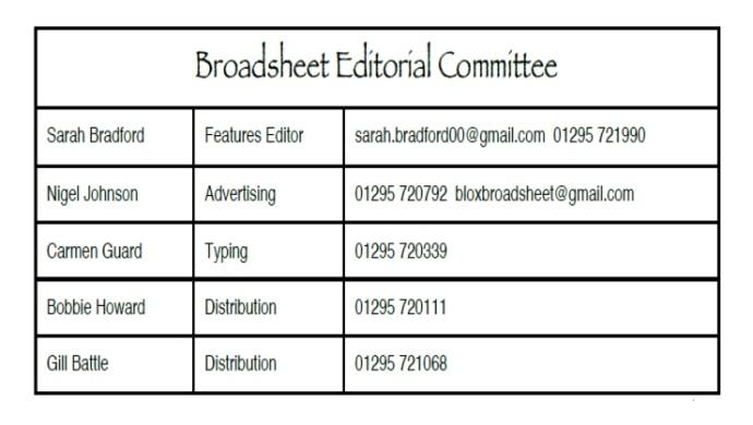 Paper Broadsheet Committee – Dec 2017