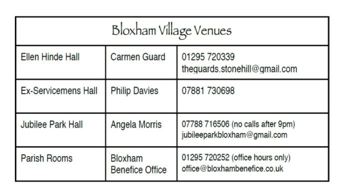 Bloxham Village Venues – Dec 2017