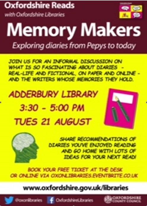 Adderbury Library Event – 21st Aug 2018
