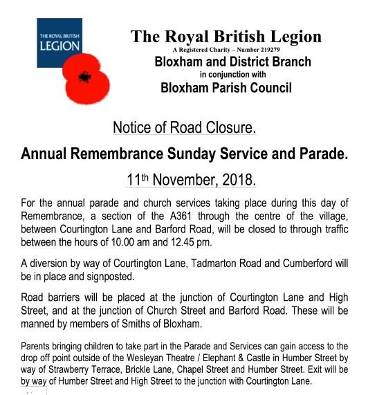 Remembrance Day Road Closure – 11th Nov 2018